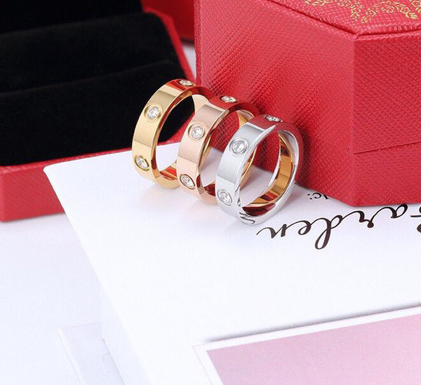 best selling Hot Sale Women Men Couple Ring Jewelry 4MM 5MM 6MM Silver Gold Rose Gold Color titanium steel Lover Rings with box