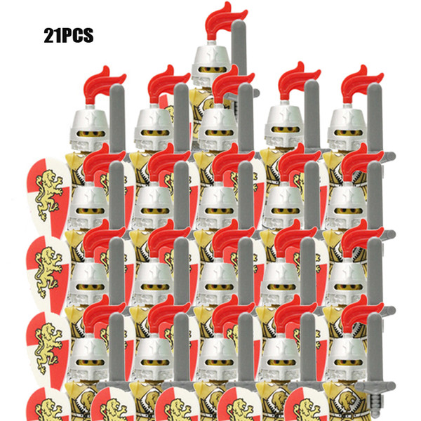top popular 21PCS LOT Castle Royal King's Knight Rome Spartacus Medieval Age Soldiers Red Lion figures Compatible Building Blocks kids toys X0102 2021