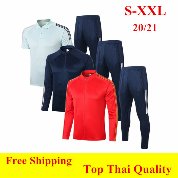 best selling Thai quality 2020 Spain Soccer Jacket Survetement Training Suit 20 21 A.INIESTA Cotton Coat Tracksuit ANSU FATI long sleeve Jogging SETS XXL