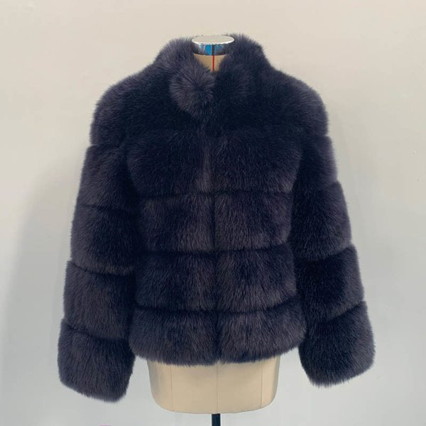 Navy Fox Fur Coat