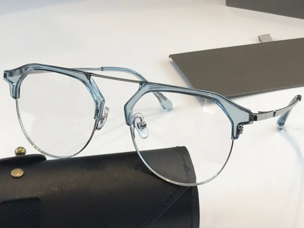blue frame transparent lens