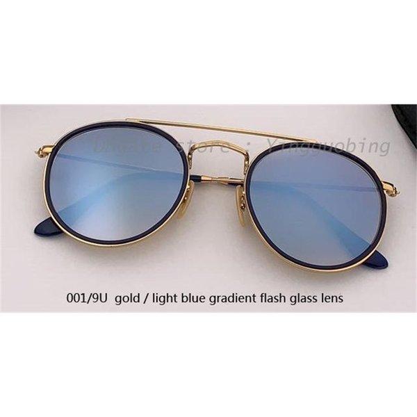 001 / 9u ouro / luz azul espelho