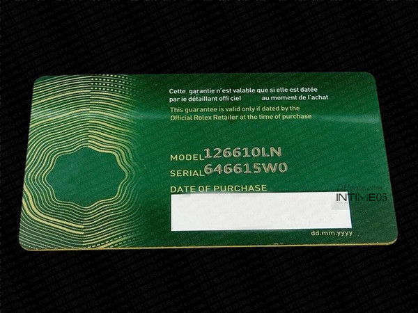 best selling 2020 New Top Green Security Warranty Card Custom Print Model Serial Number On Guarantee Card Watch Anti-Forgery Crown Tags