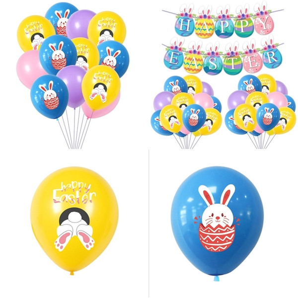 best selling Happy Easter Rabbit Print Balloons Latex Air Balloon Kids Cartoon Bunny Balloon Easter Party Decoration Eggs Festival Supplies Toys G10703