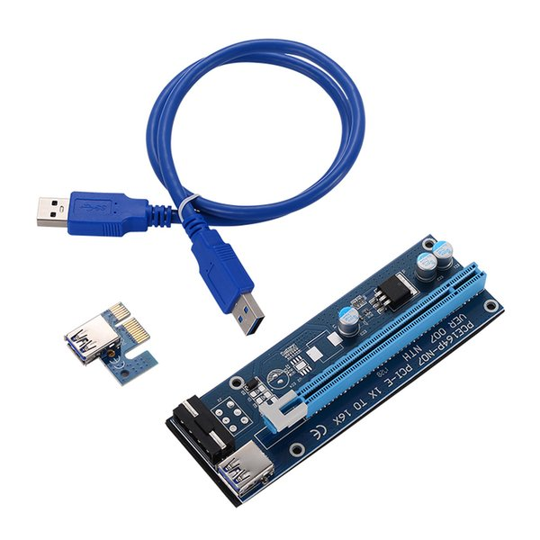 best selling VER 007 PCIe PCI-E PCI Express 1x to 16x Riser Card USB 3.0 Data Cable SATA to 6Pin IDE Molex Power Supply New Arrival