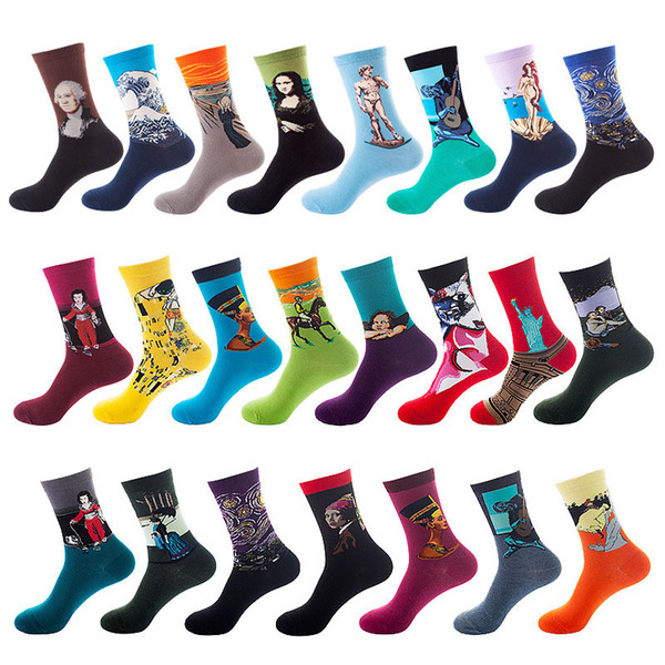 top popular Men & Women's Novelty Funny Casual Combed Cotton Socks Artwork Print Crew Long Socks Colorful Unisex Dropship 2021
