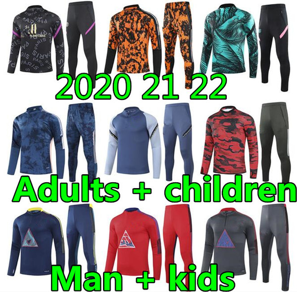 20 21 22 Adult and kids mens designer tracksuits mens trainers soccer tracksuit football tracksuit player version soccer training suit
