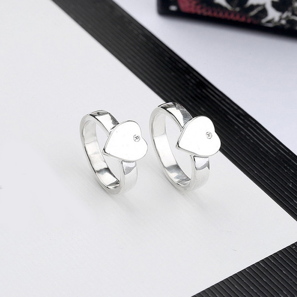 top popular New Women Heart Finger Ring Letter Heart Ring with Stamp Fashion Jewelry Accessories Gift for Love Girlfriend 2021