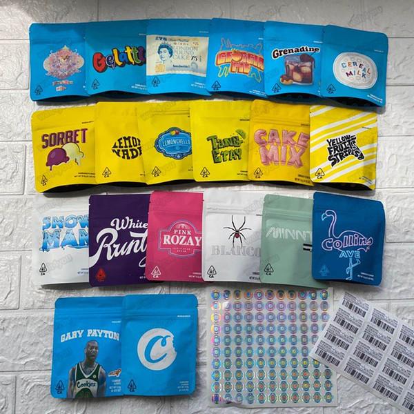top popular 3.5g Mylar Bags 20 Types COOKIES California SF White Runtz GEORGIA PIE MINNTZ Cake Mix Touch Skin Lemon nade jpackage packing 2021