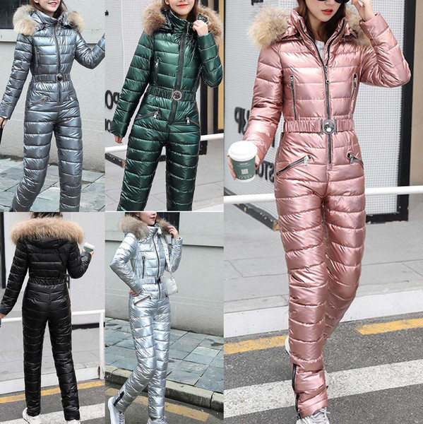best selling Ski Suit Jackets Winter Plush Hooded Parka Jumpsuit Women Cotton bodysuit Sashes Jumpsuits Zipper Overalls Tracksuits