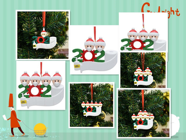 best selling Christmas Quarantine Ornaments for white family Survivor Family of 2-7 Hang Decoration Snowman Pendant With Face Mask fast DHL