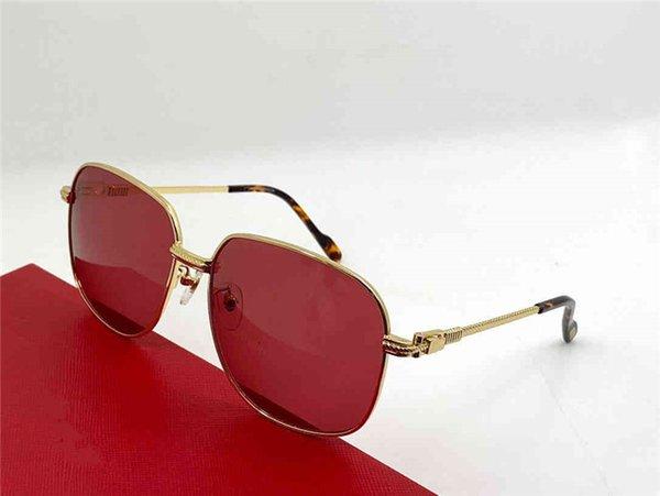 Altın çerçeve kırmızı lens