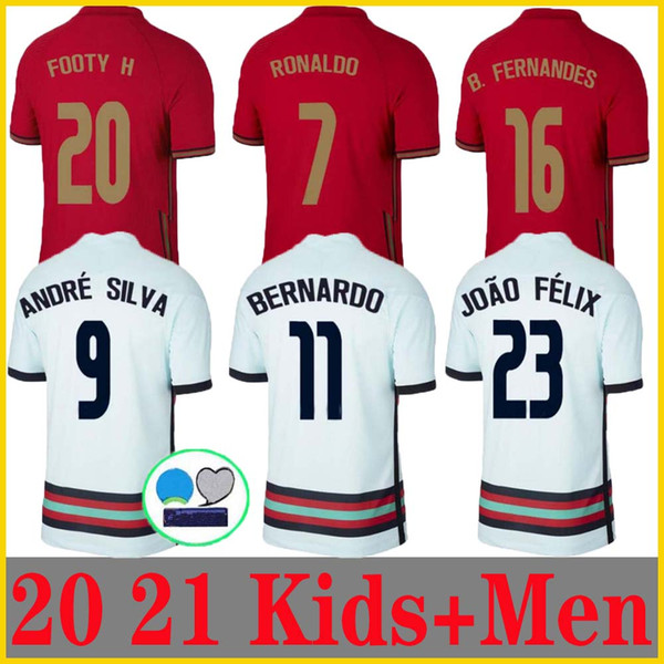 top popular 20 21 RONALDO soccer jerseys national team JOAO FELIX 2020 2021 Bernardo PORTUGAL B.FERNANDES Camisa de futebol men kids kit football shirts 2021