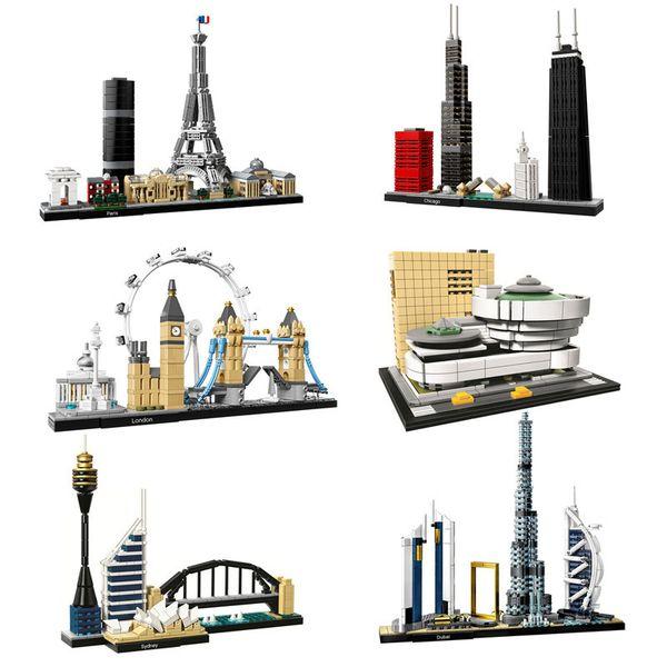 top popular Architecture Paris Dubai London Sydney Chicago Shanghai Building Blocks Kit Bricks Classic City Model Kid Toys For Children Gift 1008 2021