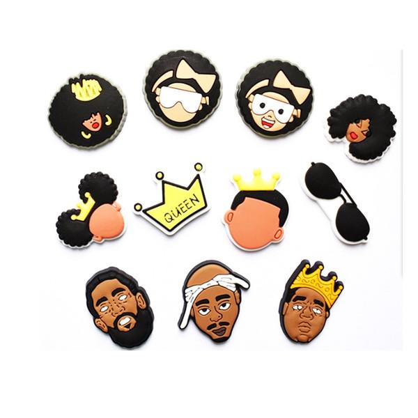 top popular Black cute cartoon PVC Shoe Charms Shoe Buckles Action Figure Fit Bracelets Croc JIBZ Shoe accessoriesWristband Boys Gift 2021