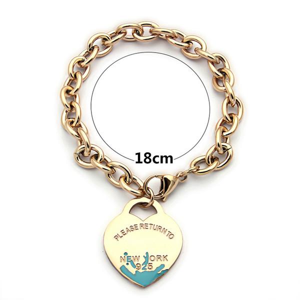 best selling Pulsera mujer New Luxury quality Fashion women Jewelry Stainless Steel green enamel heart Link chain t bracelets PLEASE RETURN TO engraved