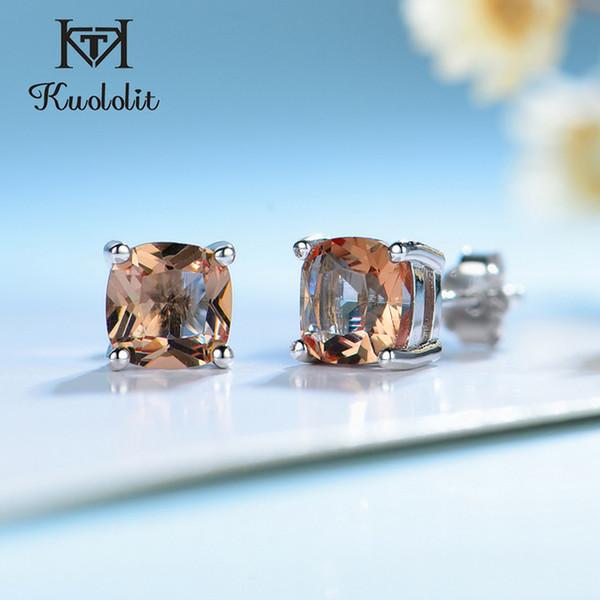 Ewelry Accessoires Kuololit Diaspore Gemstone Studing Boucles d'oreilles pour femmes Solide 925 Sterling Argent Couleur Déclingcushion Anniversary ...