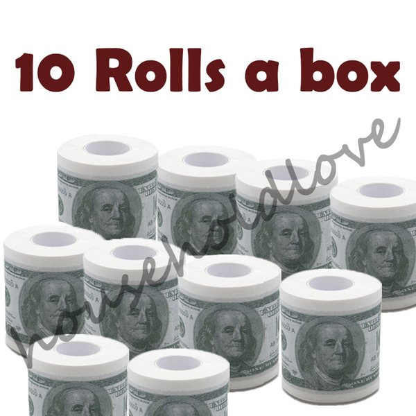 best selling 10 Rolls Creative Dollar Printing Roll Papers Coin Pattern Color Tissue Paper Toilet Paper Full Box Napkins Gift