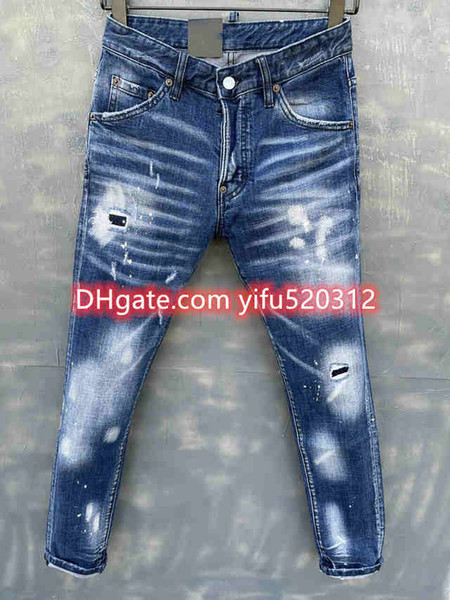 top popular 21ss Mens pants skinny jeans light wash ripped pants Long Straight Zipper Fly motorcycle rock revival jeans joggers true religions 28-38 2021