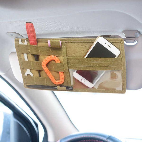 top popular Multifunction Tactical Car Sun Visor Storage Bag Molle Visor Panel Car Interior Accessories Glasses Pen Ticket Organizer 2021