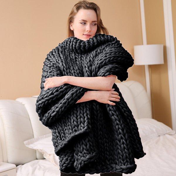 Coperta a nastro lavorato a maglia - grigio scuro