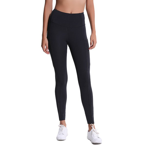 top popular 50%off Hot Sale! Autumn and Winter New Yoga Pants Wome Elastic Double-sided Thin High Waist Pants Splicing Pocket Sports Running Capris 2021