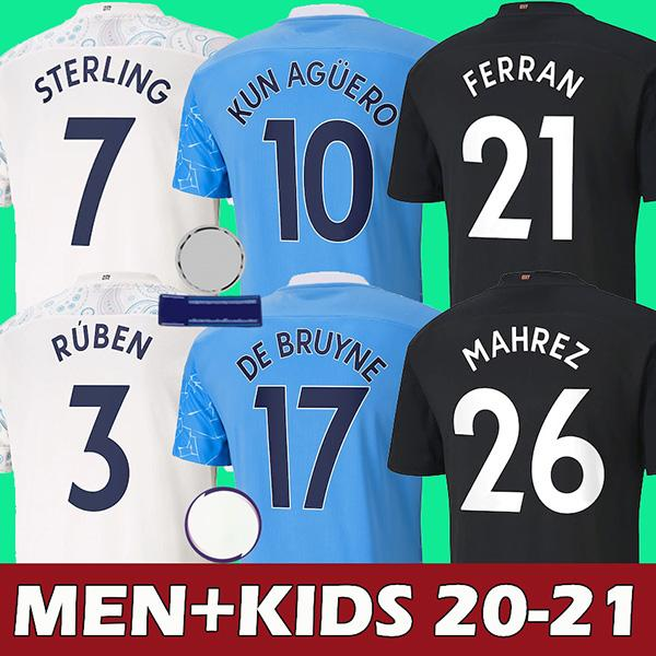 best selling 20 21 soccer jersey 2020 2021 STERLING football shirt KUN AGUERO DE BRUYNE GESUS BERNARDO MAHREZ RODRIGO men kids kits
