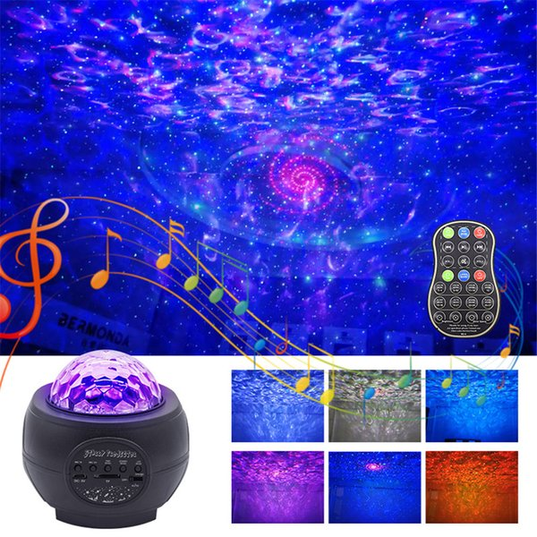 best selling 2021 New Laser Star Led Night Light Sky Ocean Wave Starry Projector with Bluetooth Speaker for Kids Adults Bedroom Decoration Vuwp