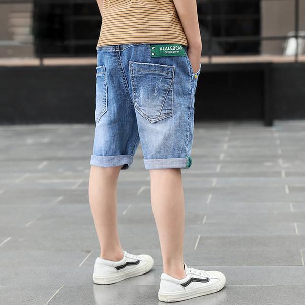 top popular Short Boys Summer Casual Denim Short Jeans Pants Letter Children Cowboy Short Cotton Trousers Kids Bottoms Beach 4-14Y 2021