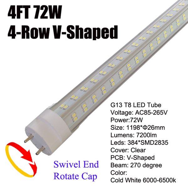 72W G13 4Ft LED Tube Clear Cover