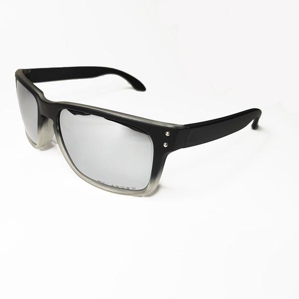 Matte black white frame silver lens