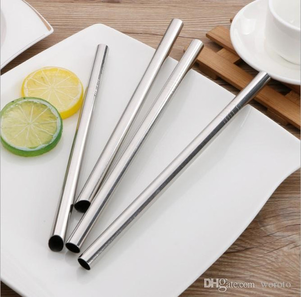 top popular 304 Stainless Steel Straw Metal Pearl Bubble Tea Juice Drinking Straw Reusable 12mm x215mm Free Shipping 2021