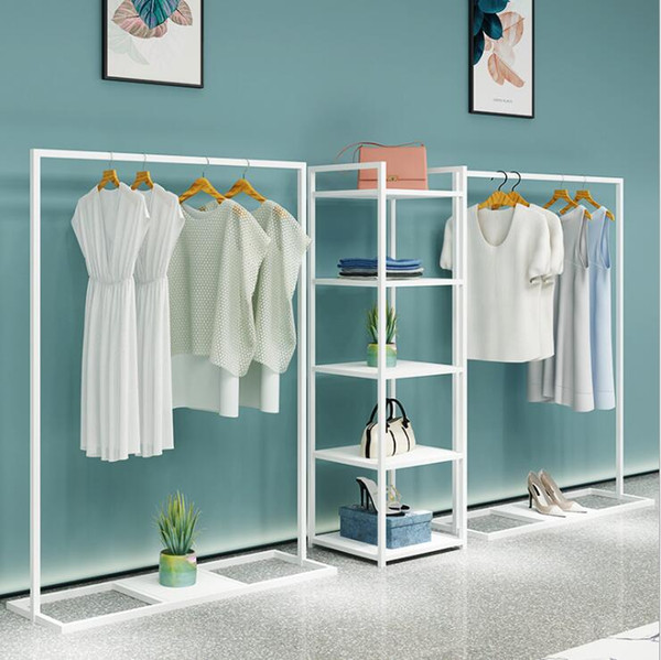 best selling Simple clothing store display rack floor type men's shop shelf women's clothing store hanging clothes rack white against the wall