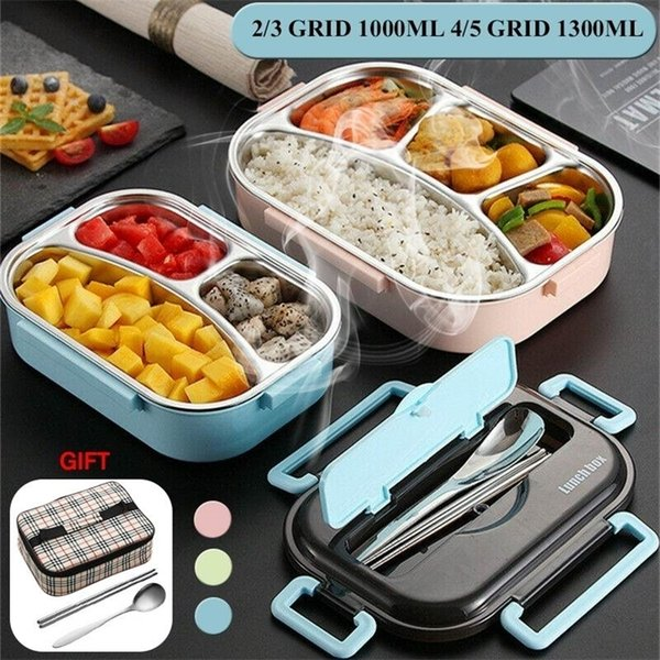 top popular NEW Portable Leakproof Lunch Compartments 304 Stainless Steel Lunchbox Office School Kids Bento Box with Spoon and Bag 201210 2021
