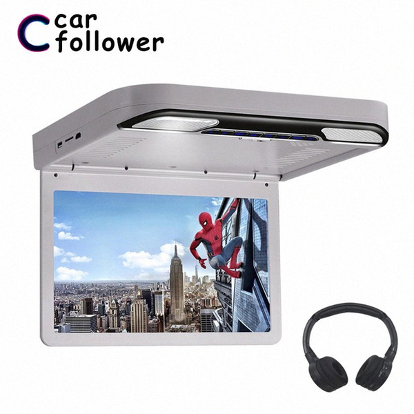 best selling 13.3 Inch Car Monitor Roof Flip Down 1920x1080 MP5 Screen DVD Player HDMI USB SD IR FM Transmitter Speaker Ceiling TV For Car xAmA#