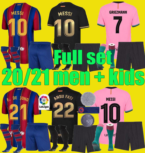 best selling 2020 2021 FC BARCELONA Messi soccer jersey 20 21 camiseta de futbol ANSU FATI GRIEZMANN DE JONG Maillots de football shirt Men + Kids kit