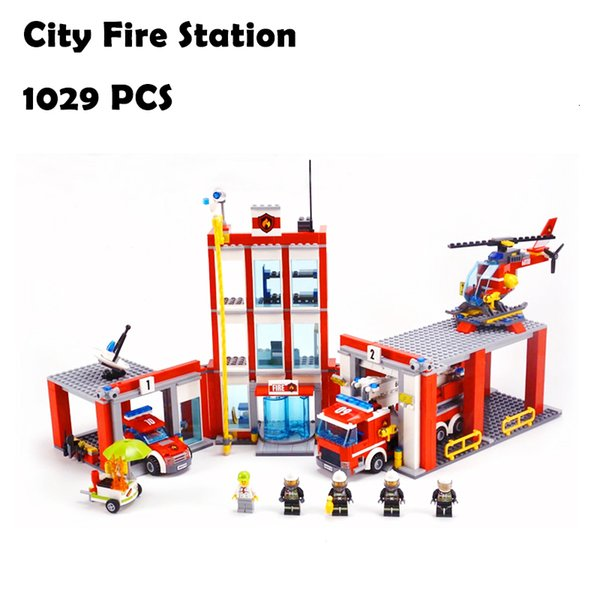 best selling City Fire Station Building Blocks Toy Kit Building-block Toys Compatible with inglys DIY Educating Children Christmas Gifts