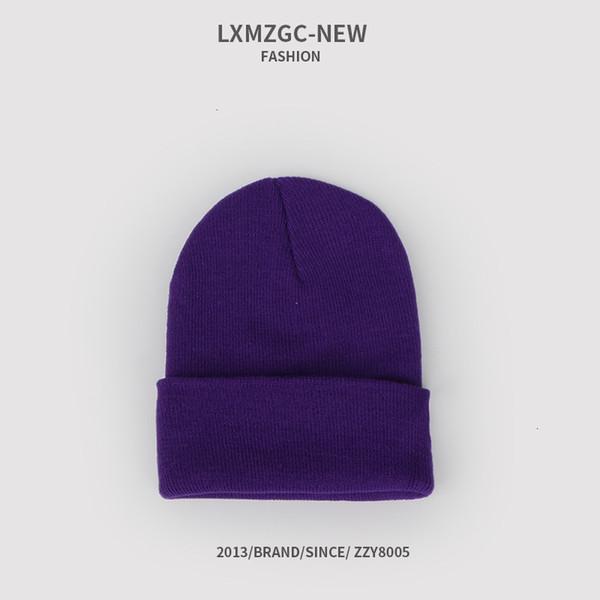 Sombrero de punto fluorescente - púrpura oscuro