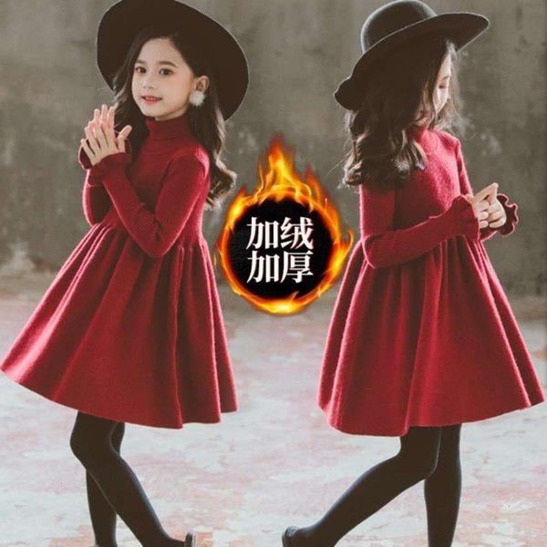 Vestido rojo de vino de felpa