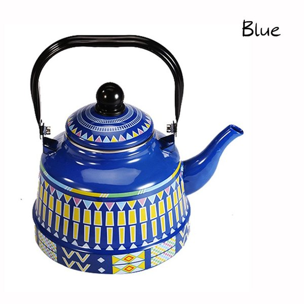 top popular 2.5L Whistling Enamel Tapot with Steel Handle Exquisite Enamelled Stovetop Kettle Traditional Bone China Teapots Luxirious Metal Jug BWD2282 2021