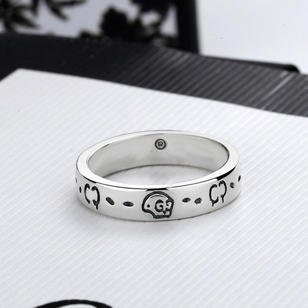 best selling Women Men Skull Letter Ring Letter Finger Ring with Stamp Fashion Jewelry Accessories Size 6 7 8 9 High Quality