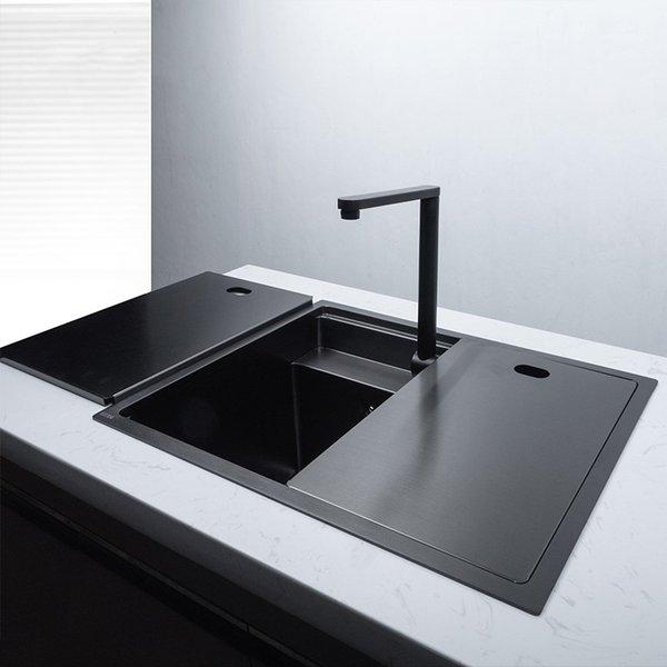 best selling Black Nano Hidden Stainless Steel Handmade Kitchen Sink Single Double Bowl Counter Big Basin Undermount Balcony Basin Sink
