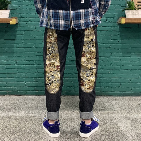 top popular 2021 latest jeans men's slim fit straight tube loose middle waist holed jeans pants retro color men's jeans 2021