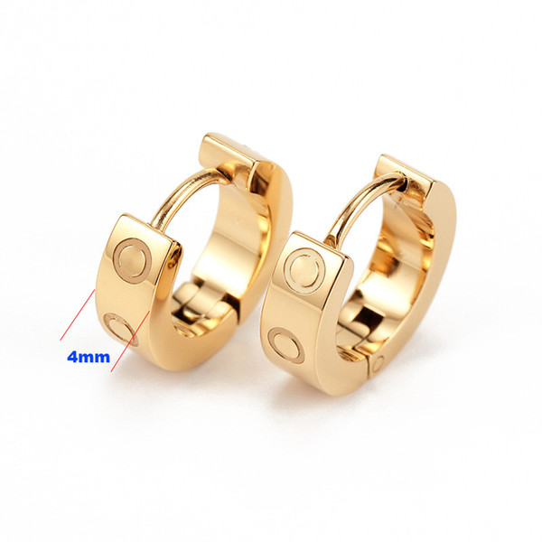 top popular 2021 Titanium Stainless Steel Love Earrings Eardrop Gold Silver Rose gold For Women Jewelry with Red Pouch 2021
