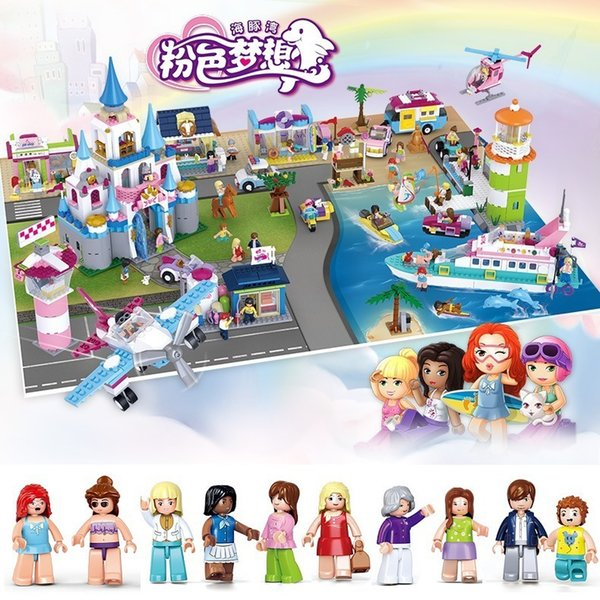 top popular Dolphin Bay Pink Dream Girl Castle Yacht Airport Terminal Car Puzzle Assembly Blocks Children's Toys Gift Girls Toys 2021