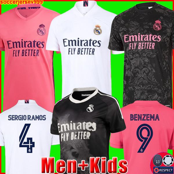 top popular REAL MADRID jerseys 20 21 soccer football shirt HAZARD SERGIO RAMOS BENZEMA ASENSIO camiseta men + kids kit 2020 2021 fourth 4th HUMANRACE 2020
