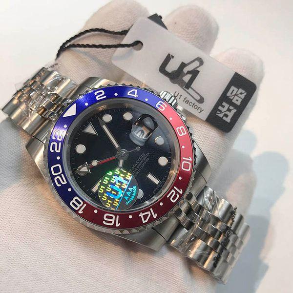 top popular U1 Luxury Top Quality Automatic 5833 Jewel Movement GMT II Ceramic Bezel sapphire glass Dial Men Watch 316 Staiinless Band 2021