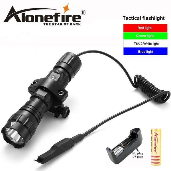 top popular AloneFire 501Bs XM-L T6 L2 LED Tactical Flashlight 501B Torch Pressure Switch Mount Hunting Rifle Gun Light Lamp 201207 2021