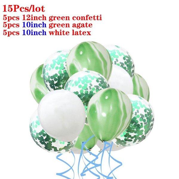15pcs white green