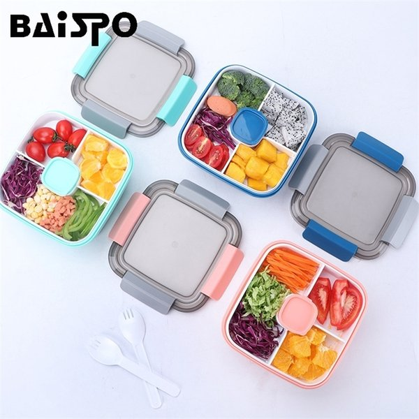top popular Baispo Heated Lunch Box For Kids Bento Box Japanese Style With Tableware Compartment Design kitchen Food Container Microwaveable 201210 2021
